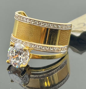 22k Ring Solid Gold Ladies Jewelry Solitaire With Geometric Design R2090zz