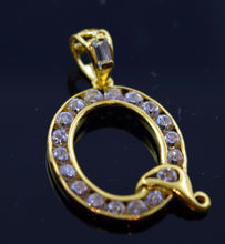 22k Jewelry Solid Gold Letter Shape Pendent Q letter with stone pq1