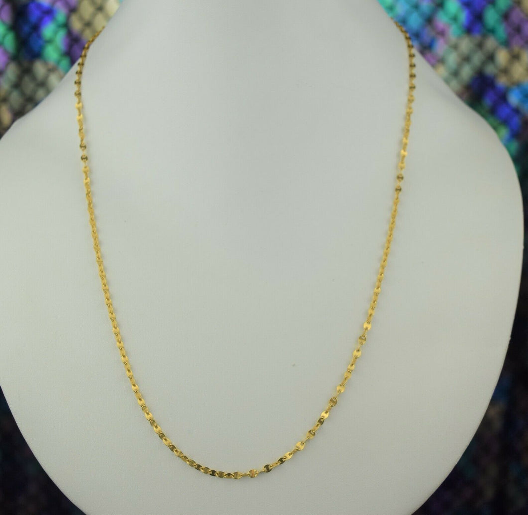 22k Chain Solid Gold Simple Elegant Oval Link Design C3548