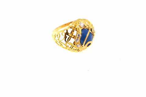 "22k 22ct Solid Gold ELEGANT LADIES Stone Ring SIZE 9 RESIZABLE"" R1081"