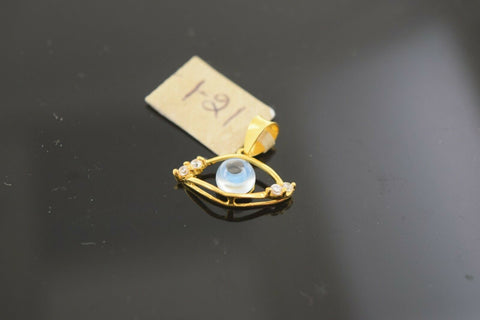 22k Solid Gold Charm Pendant Simple Arabic Evil Eye Design p222