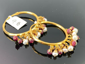 22k Earrings Solid Gold Ladies Jewelry Classic Hoops With Color Stones E5394 - Royal Dubai Jewellers