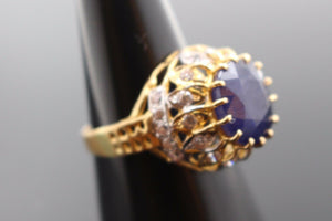 "22k Jewelry Solid Gold ELEGANT Blue Sapphire Ring Size 8.5 ""RESIZABLE"" R1014 - Royal Dubai Jewellers"
