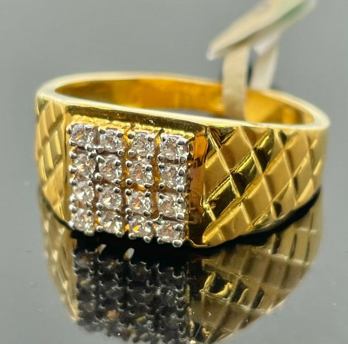 22k Ring Solid Gold Men Jewelry Simple Square Signet with Stone Design R2172z