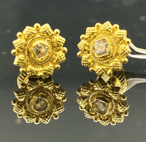 22k Earring Solid Gold Simple Floral Pattern Studs with Stone Design E6564 - Royal Dubai Jewellers