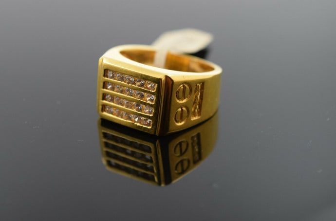 10k Ring Solid Gold Ring Men Jewelry Modern Stone Encrusted sigma Design R1967