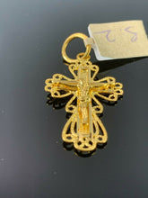 22k Pendant Solid Gold Elegant Simple Cross With Diamond Cutting Design P928 - Royal Dubai Jewellers