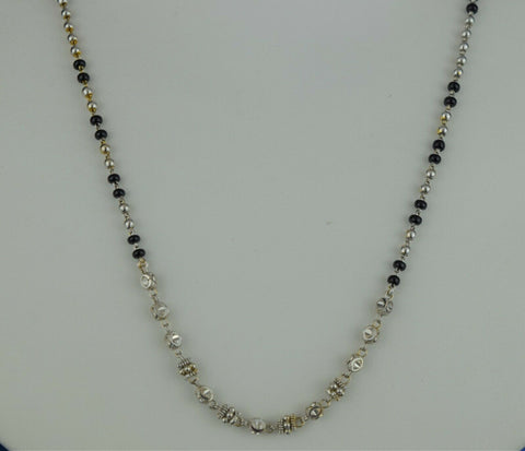 22k Mangalsutra Solid Gold Ladies Necklace Two Tone Beads Design C1106