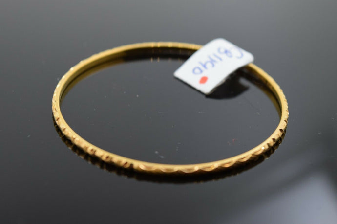 21k Solid Gold ELEGANT BABY CHILDREN BANGLE Classic Diamond Cut Design cb1190z
