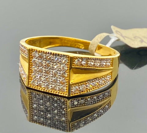 22k Ring Solid Gold Men Jewelry Simple Square Signet Design with Stones R2171 - Royal Dubai Jewellers