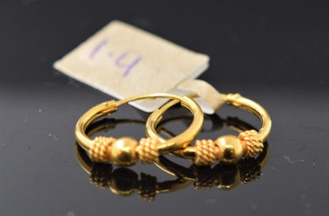 22k  Earrings Solid Gold Elegant Clip On Design e6674 - Royal Dubai Jewellers