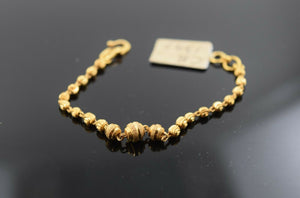 22k Solid Gold ELEGANT BABY CHILDREN BRACELET Simple Infinity Beads cb1397