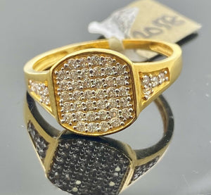 22k Ring Solid Gold Men Jewelry Classic Stone Encrusted Design R2058 - Royal Dubai Jewellers