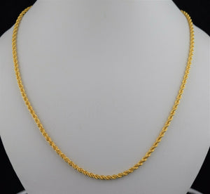 22k Chain Solid Gold Elegant Simple Rope Link Design C0146
