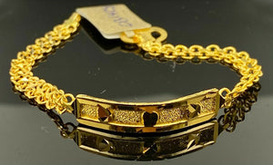 22k Bracelet Solid Gold Children Jewelry Simple Plate With Chain Design CB1428