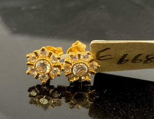 22k Earring Solid Gold Ladies Simple Floral Design E6681 - Royal Dubai Jewellers