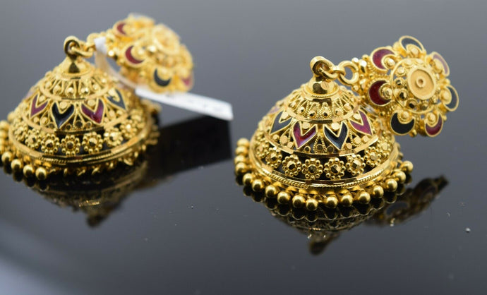 22k Earrings Solid Gold Ladies Jewelry Small Jhumki with Enamel Design E8398 - Royal Dubai Jewellers
