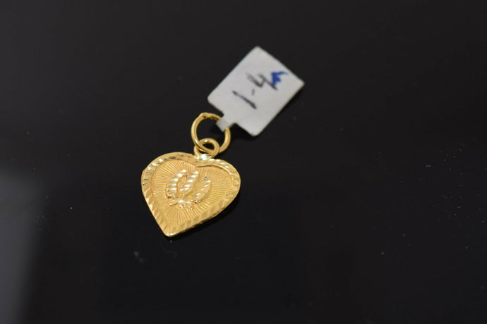 22k Solid Gold Charm Pendant Classic Sikh religious Heart Shape Design p1032