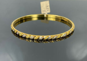22k Bangle Solid Gold Elegant Ladies Two Tone Cross Pattern Design B384