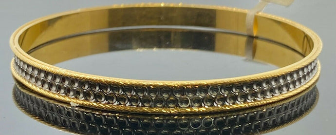 22k Bangle Solid Gold Simple Ladies Two Tone Infinity Circle Design B420