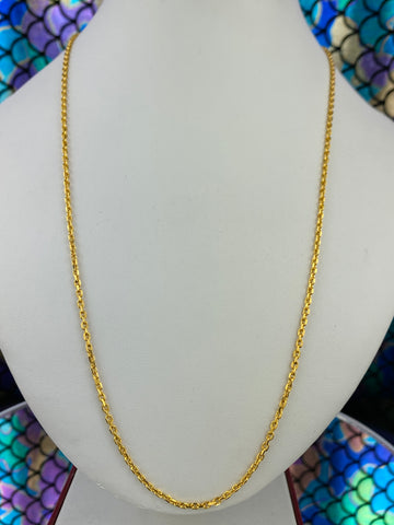 21k Chain Solid Gold Ladies Jewelry Simple Cable Design c3381 - Royal Dubai Jewellers