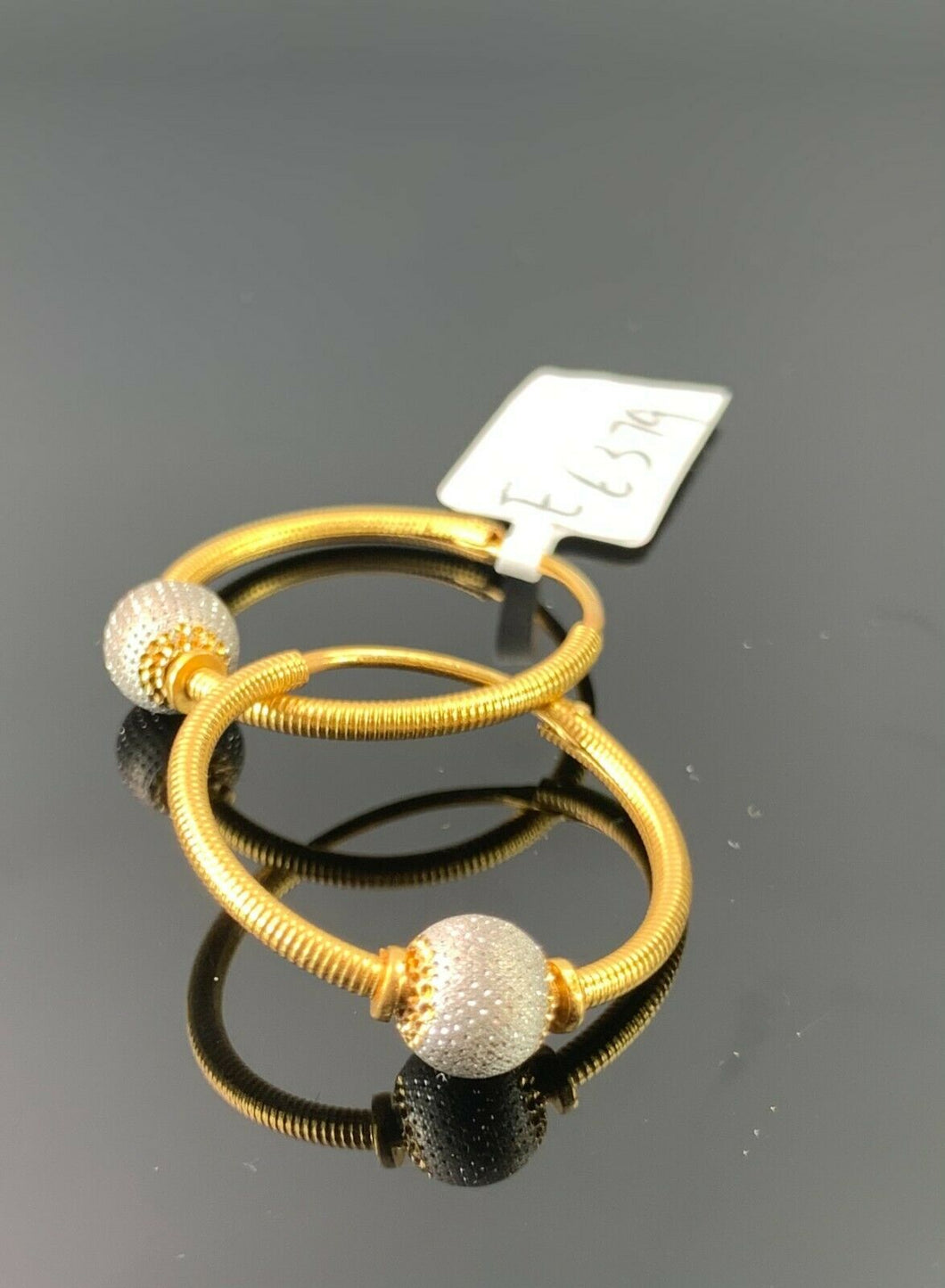 22k Earrings Solid Gold Ladies Jewelry Simple Two Tone Hoops with Bead E6379 - Royal Dubai Jewellers
