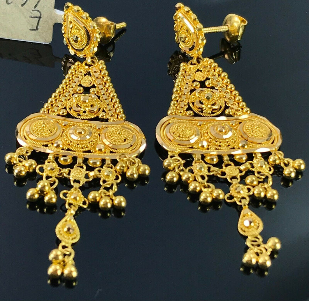 22k Earrings Solid Gold Ladies Elegant Classic Filigree Design E6621 - Royal Dubai Jewellers