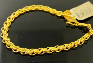 22k Bracelet Solid Gold Children Jewelry Simple Anchor Links Design BR63