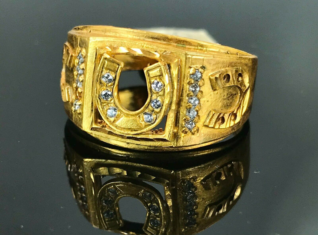 22k Ring Solid Gold ELEGANT Charm Mens Horse Shoes SIZE 11