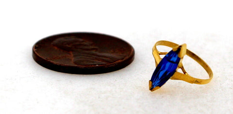 "22k 22ct Solid Gold BEAUTIFUL BABY Ring Blue Stone SIZE 0.9 ""RESIZABLE"" r1229 - Royal Dubai Jewellers"