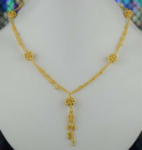 22k Chain Solid Gold Ladies Elegant Filigree Snake And Beads Link Design C050 - Royal Dubai Jewellers