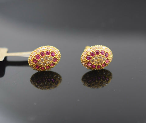 22k Earring Solid Gold Simple Oval Shape Stud with Stone Design E6552 - Royal Dubai Jewellers