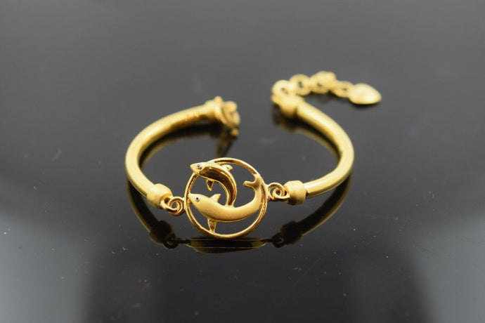 22k Solid Gold ELEGANT DOLPHIN PLAIN BABY CHILDREN BANGLE BRACELET b280