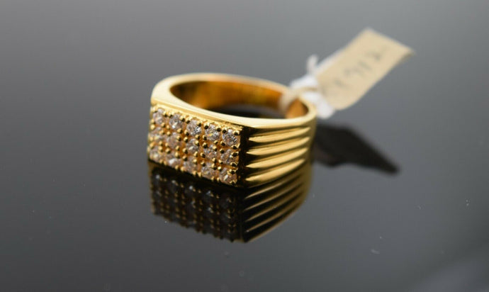 22k Ring Solid Gold Ring Men Jewelry Modern Stone Encrusted sigma Design R1912
