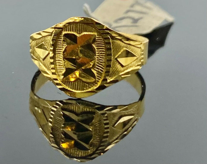 22k Ring Solid Gold Children Jewelry Simple Geometric Design R2779