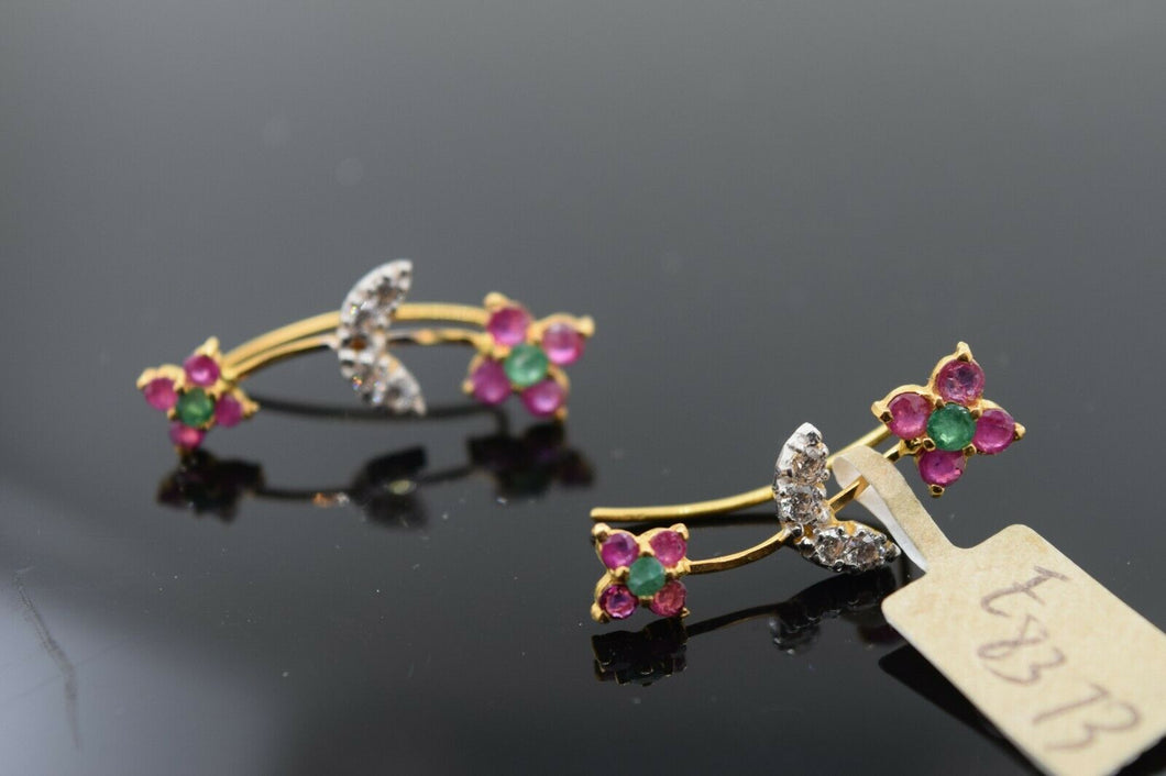 22k Earrings Solid Gold Ladies Jewelry Simple Lower Loop Design With Stone E8373