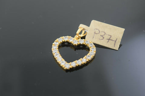 22k Solid Gold Charm Pendant Heart Sharp Cut Out With Stone Design p371