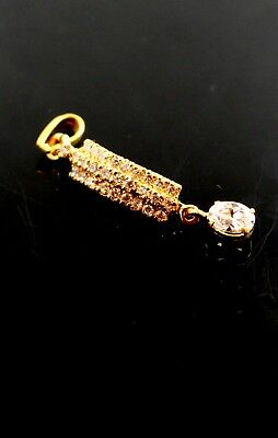 22k 22ct Solid Gold Elegant long ZIRCONIA STONE DANGLING Pendant locket p849