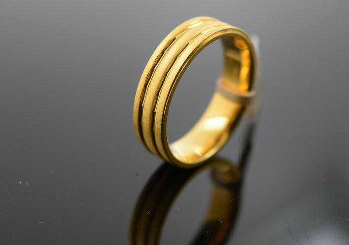 18k Ring Solid Gold Ring Men Jewelry Modern Triple Ring Band R1848