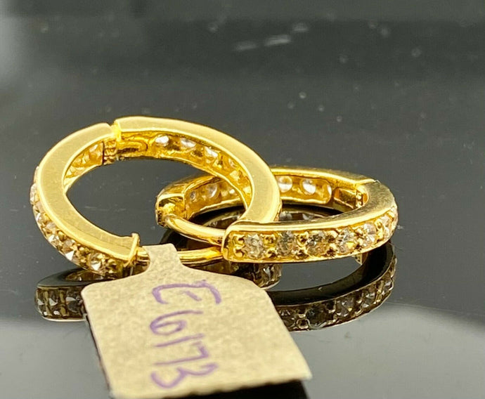 22k Earring Solid Gold Ladies Hoops Clip On with Infinity Stone Design E6173