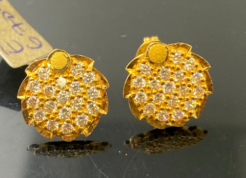 22k Earring Solid Gold Ladies Simple Round Designs E6709 - Royal Dubai Jewellers