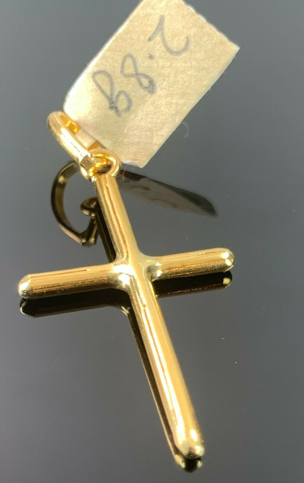 22k Pendant Solid Gold Elegant Simple Cross High Polished Glossy Design P444 - Royal Dubai Jewellers