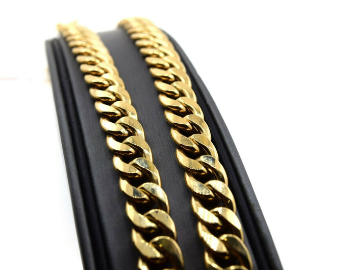 18k Yellow Solid Gold Chain Necklace SImple Curd with High Polished Design C3303 - Royal Dubai Jewellers