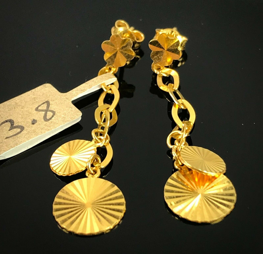 22k Earring Solid Gold Ladies Simple Studs With Round Ring Dangle Design E6424