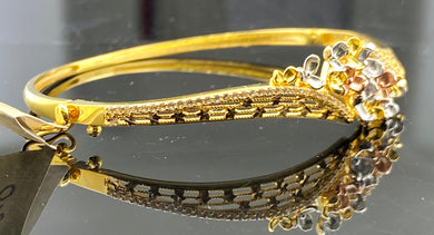 21k Bracelet bangle Solid Gold Two tone Floral Design with Signity Stones B 543 - Royal Dubai Jewellers