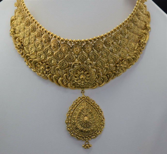 22k Bridal Set Beautiful Solid Gold Ladies Elegant Filigree Choker Design LS1021