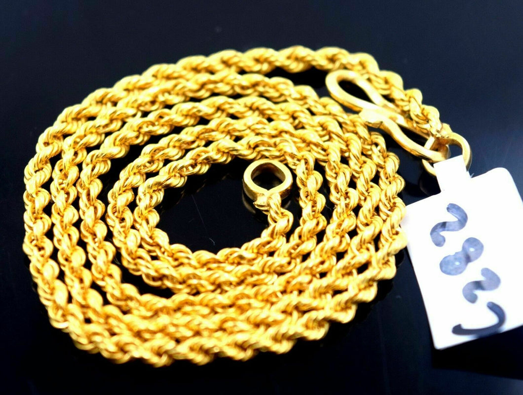 22k Chain Jewelry Yellow Gold Rope Chain hollow Modern Design Necklace 18