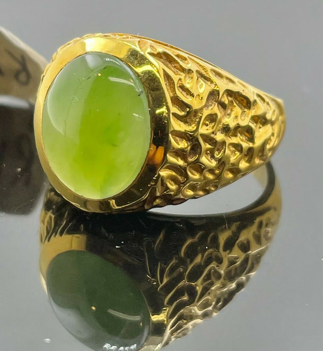 10k Ring Solid Gold Men Jewelry Simple Oval Signet Design With Lime Stone R1963