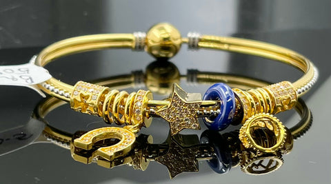 22k Bangle Solid Gold Elegant Charm Unique Exotic Design br5096 - Royal Dubai Jewellers