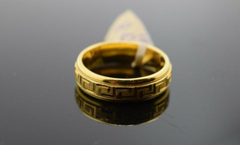 18k Ring Solid Gold Ring Men Jewelry Modern Italian Pattern Design Band R1847